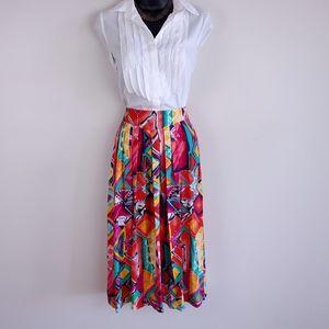 Vintage bright printed pleated midi skirt